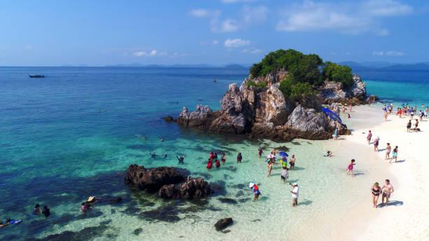 erial of beautiful Khai Nai Island in Thailand stock photo
