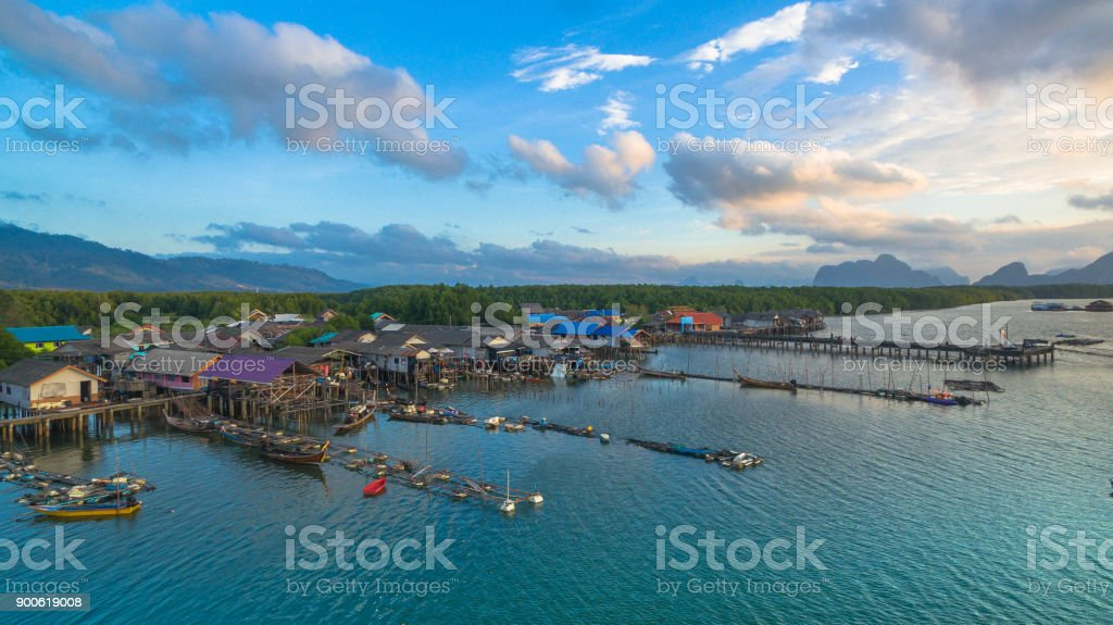 Erial View At The Old Fishing Village During High Tide Stock Photo