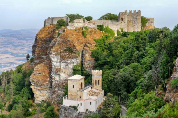 Erice Sicily Historic Fort stock photo