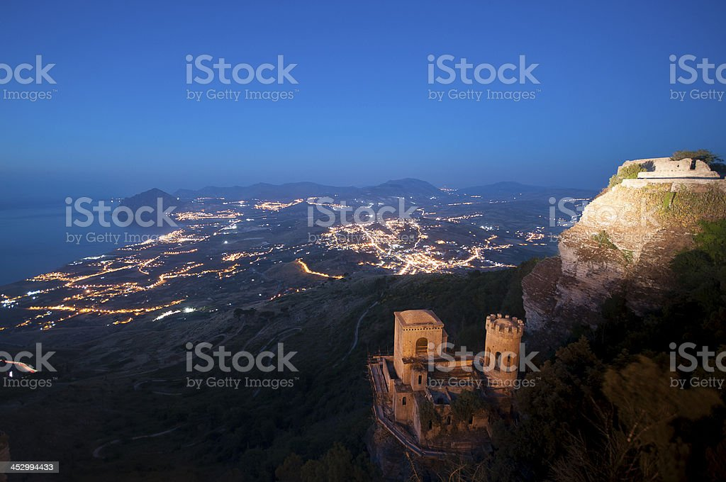 Erice, Trapani in Sicily: view from Venus Castle royalty-free stock photo