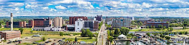 Erie Pennsylvania Panorama from Dobbins Landing Tower stock photo