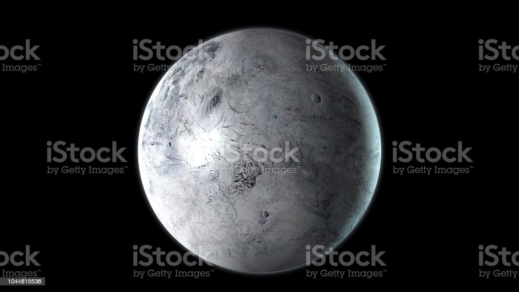 Eris dwarf planet rotating in its own orbit in the outer space. 3D Rendering stock photo