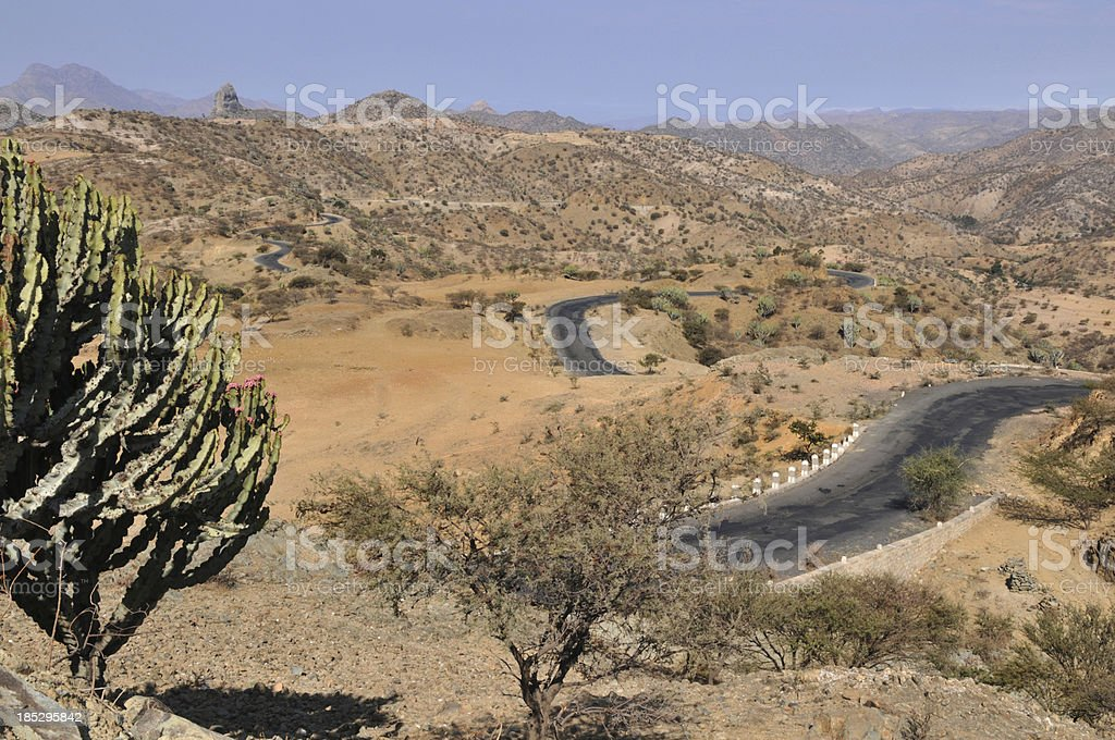 Eritrea, Africa, Landscape on road from Asmara to Keren stock photo