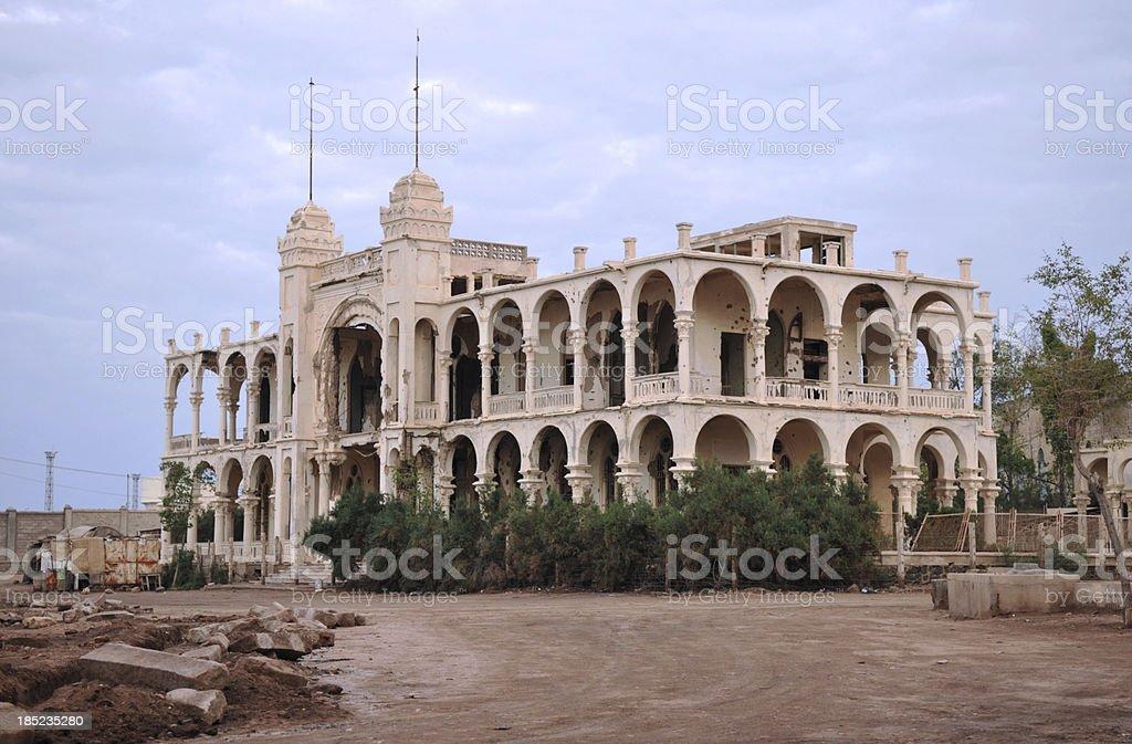 Eritrea, battered former Italian bank, Massawa in the evening sun stock photo