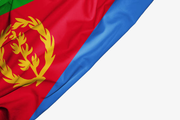 eritrea flag of fabric with copyspace for your text on white background - eritrea stock photos and pictures