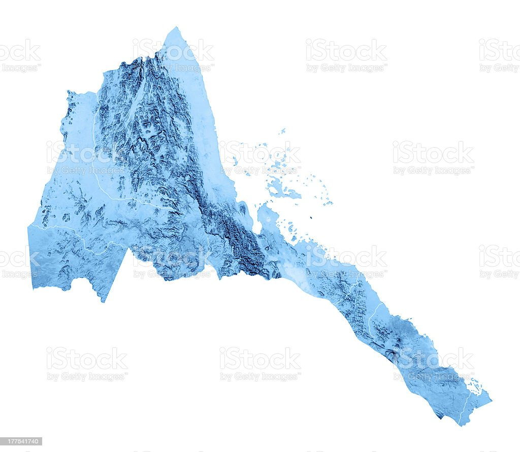 Eritrea Topographic Map Isolated royalty-free stock photo