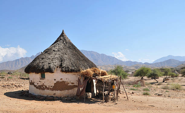 eritrea, traditional african hut - eritrea stock photos and pictures