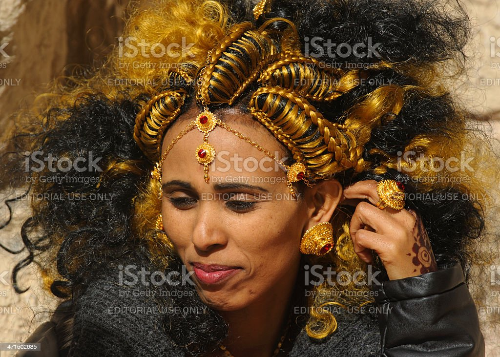 Eritrean bride with traditional hair style stock photo