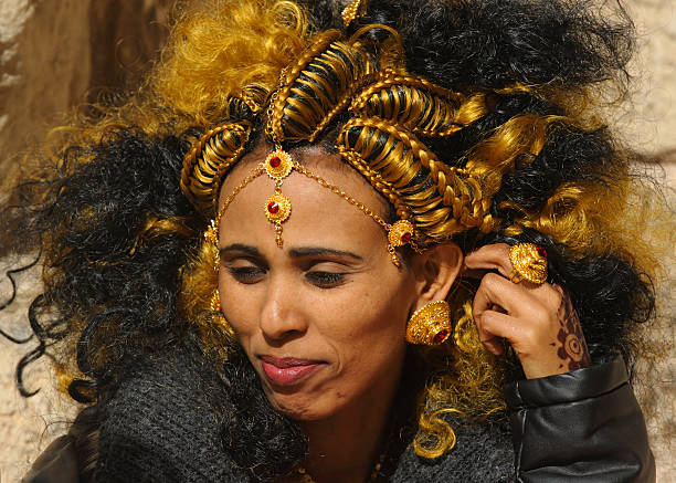 eritrean bride with traditional hair style - eritrea stock photos and pictures