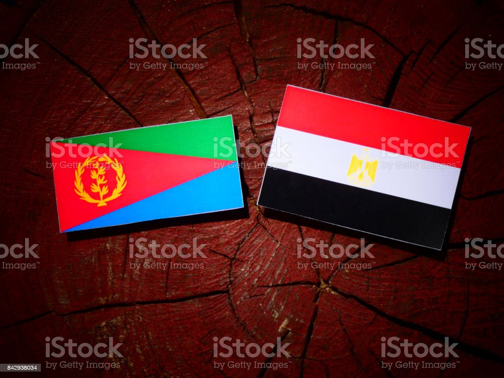 Eritrean flag with Egyptian flag on a tree stump isolated stock photo