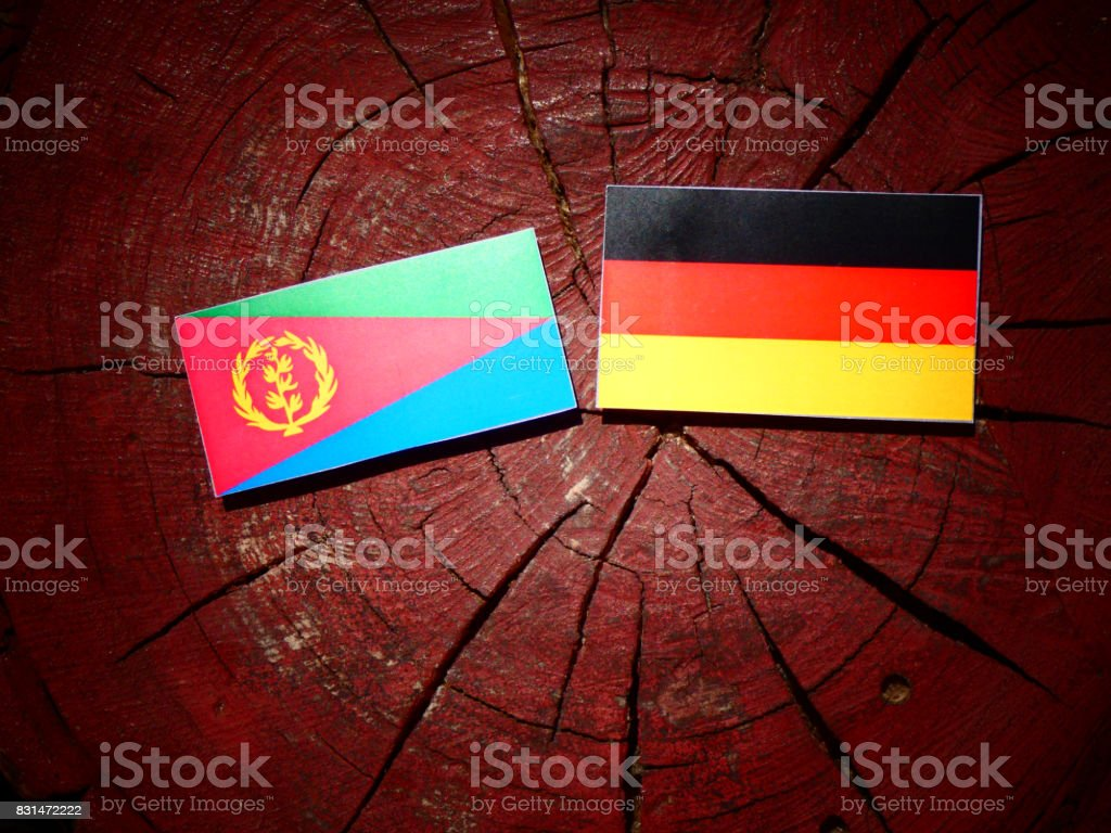 Eritrean flag with German flag on a tree stump isolated stock photo