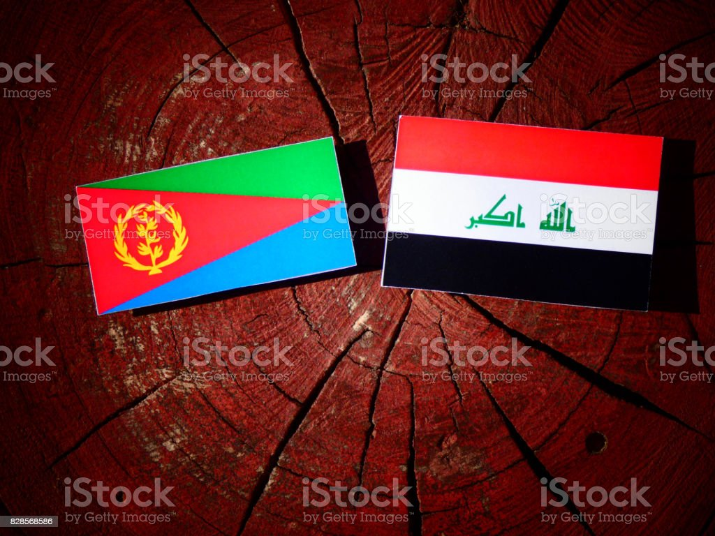 Eritrean flag with Iraqi flag on a tree stump isolated stock photo