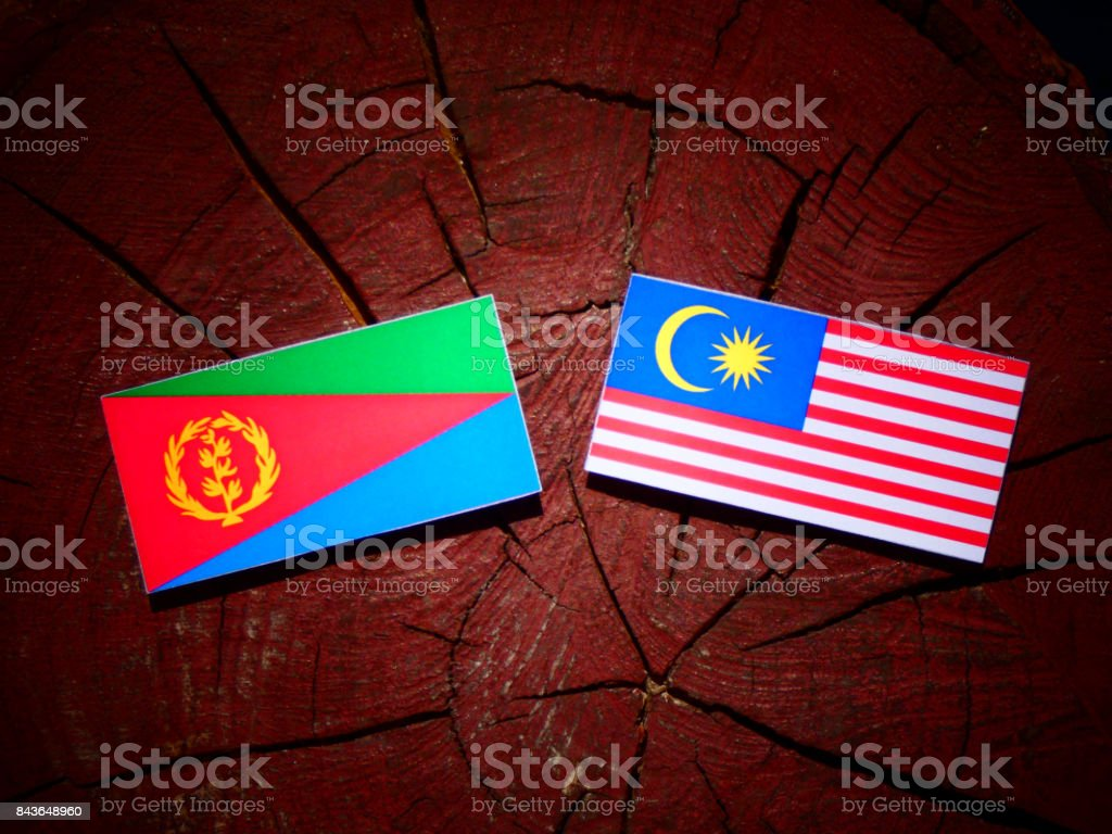 Eritrean flag with Malaysian flag on a tree stump isolated stock photo