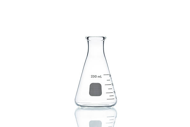 erlenmeyer flask  on white background - flask stock photos and pictures