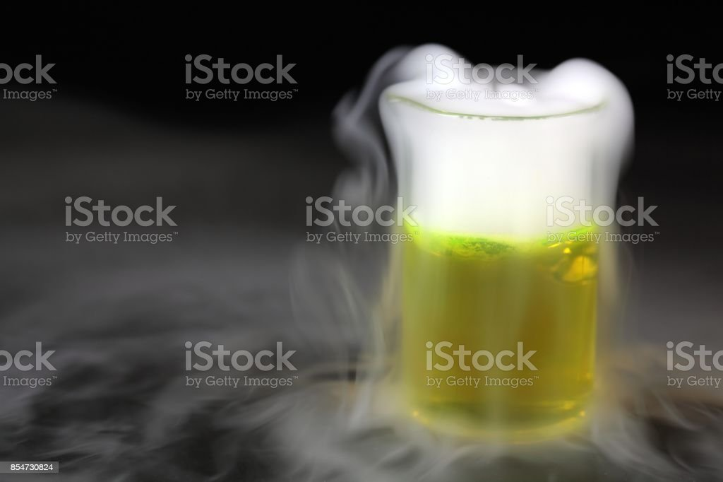 Erlenmeyer flask with a fog stock photo