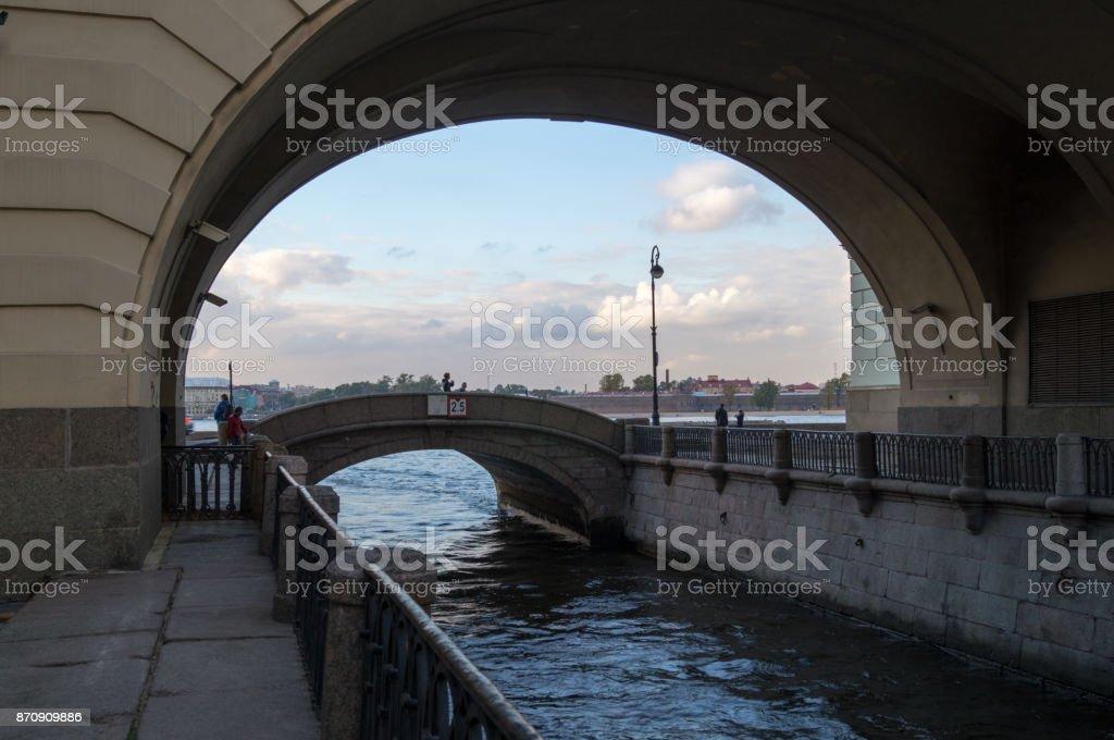 Ermitazhny bridge panorama stock photo