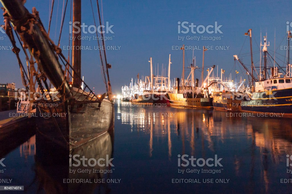 Ernestina and fishing vessels stock photo