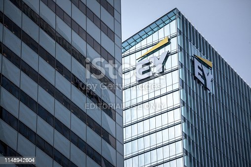 istock Ernst and Young (EY) logo on their main office for Toronto, Ontario. EY is one of the leading companies in Business Services, audit, tax advice & accounting 1148942604