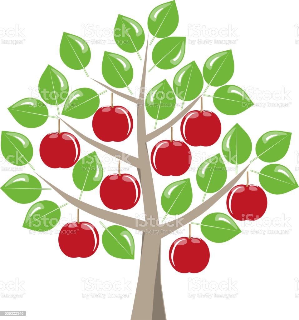 Erntereife rote Ąpfel am Baum stock photo