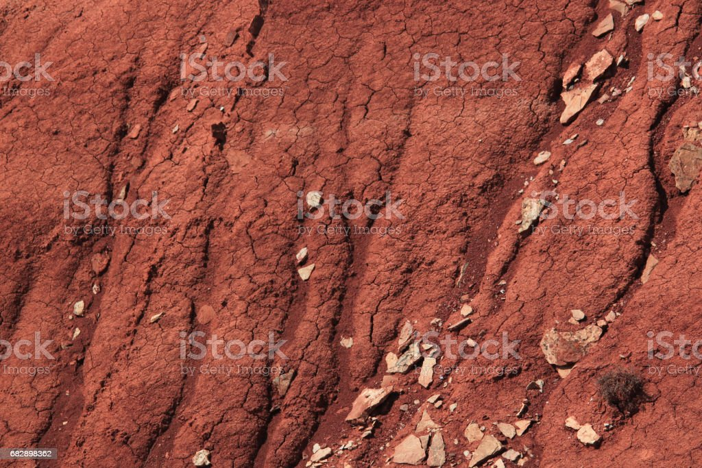 Eroded clay slope of the mountain stock photo