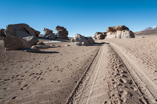 Eroded geological rock formations around Árbol de Piedra, Siloli Desert, Bolivia