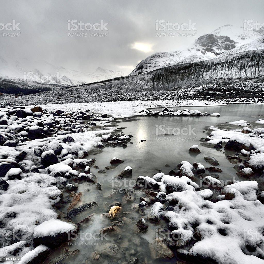 Eroded Landscape Athabasca Glacier stock photo