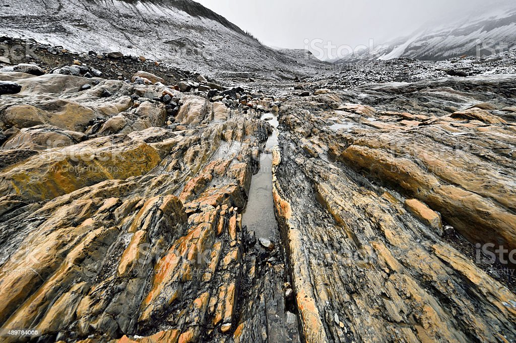 Eroded Landscape Athabasca Glacier stock photo