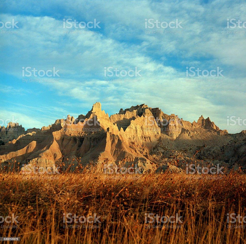 Eroded landscape Badlands National Park South Dakota copyspace stock photo