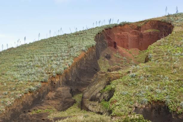 eroded deel van een grote heuvel-erosie - geërodeerd stockfoto's en -beelden