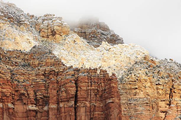 Eroded Red Rock Cliff Strata Winter Landscape