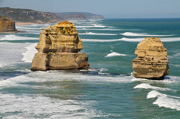 Eroded rock formations on the Great Ocean Road, Australia stock photo