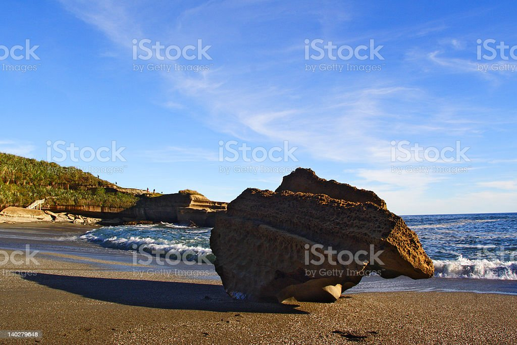 Eroded Rock on Beach royalty-free stock photo