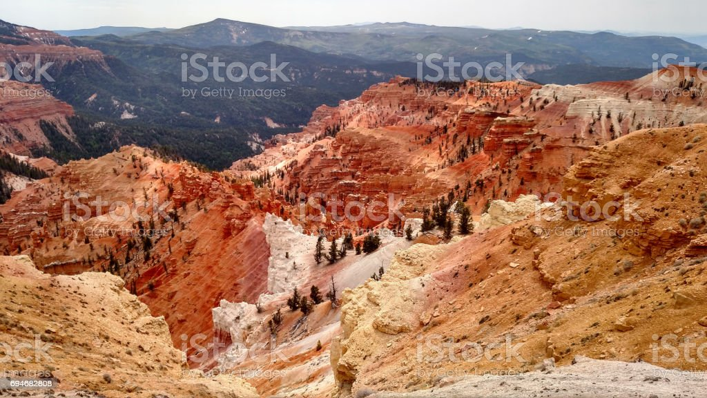 Eroded sedimentary rocks of Cedar Breaks National Monument near Bryan Head Utah stock photo