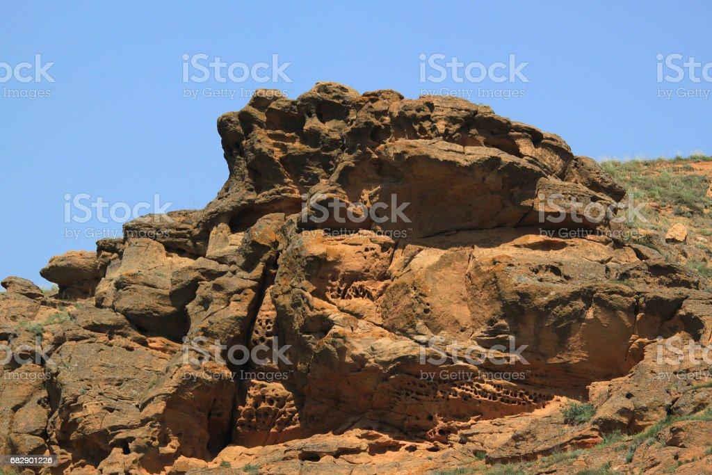 Eroded stone on Bogdo mountain stock photo