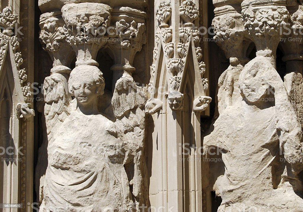 Eroso sculture di pietra. Cattedrale di Exter. Devon. Inghilterra foto stock royalty-free