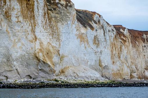 Eroding chalk cliff face