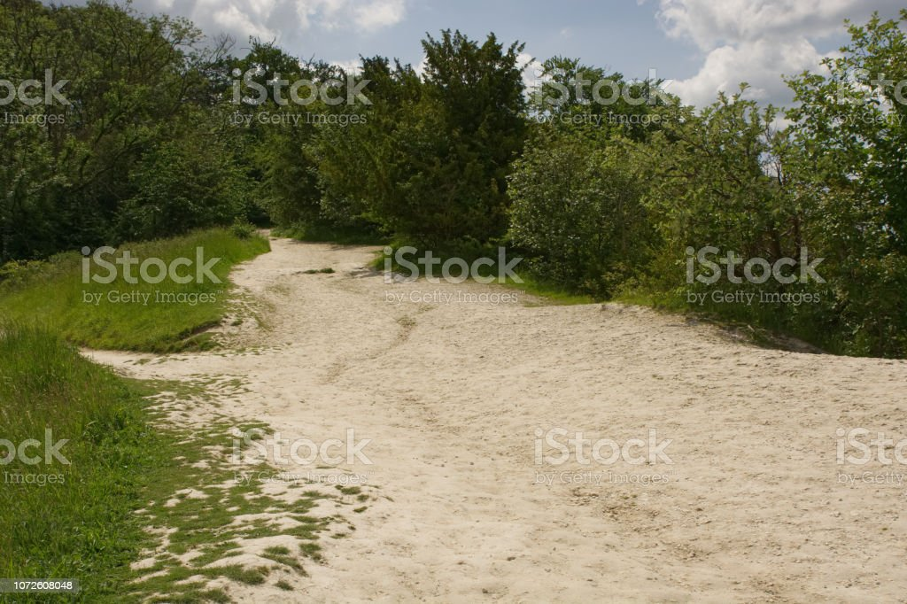 Erosion on footpath on North Downs, England stock photo