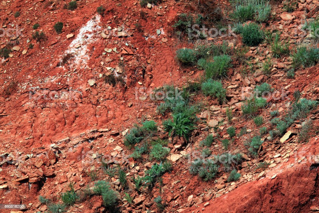 Erosion on the old clay slope stock photo