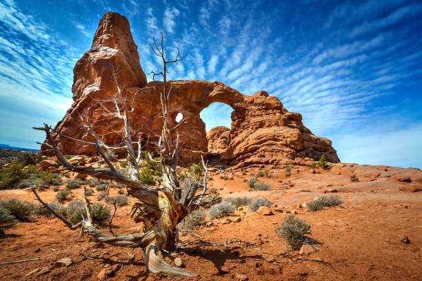 Erosion phenomenon of arched stones at Arches National Park Utah USA stock photo
