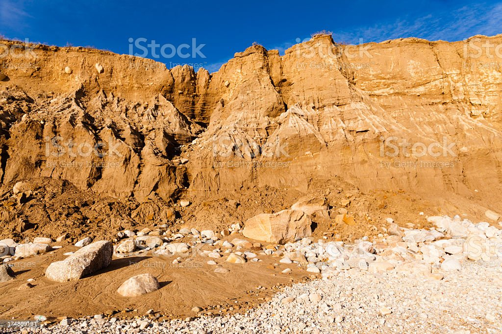 Erosion: precipice in Montauck Point, Long Isand royalty-free stock photo