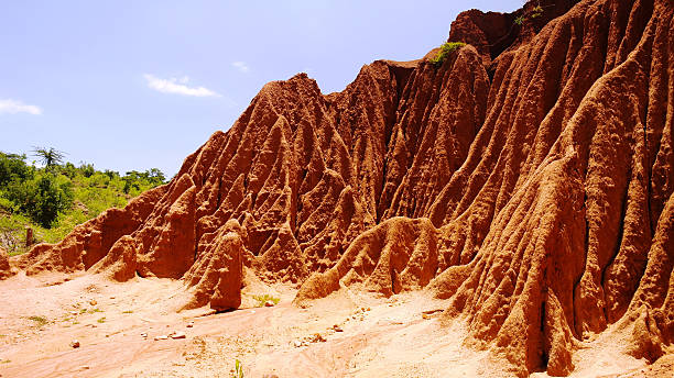 erosion sand ravine - horn of africa stock photos and pictures