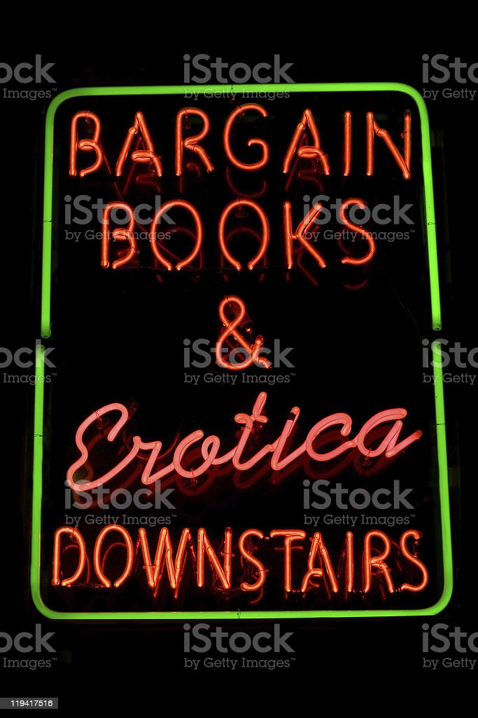 Erotic bookstore neon sign royalty-free stock photo