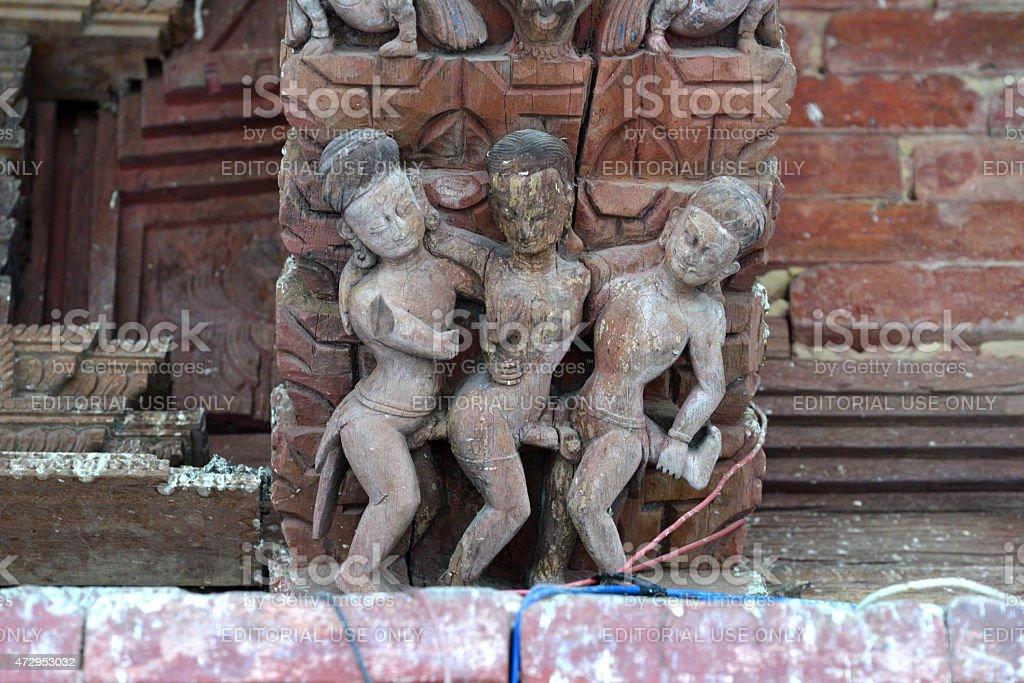 Erotic carvings on a Hindu temple in Kathmandu, Nepal stock photo