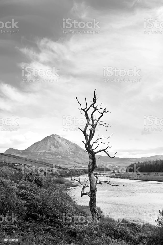 Errigal mountains and countryside in Donegal Ireland stock photo
