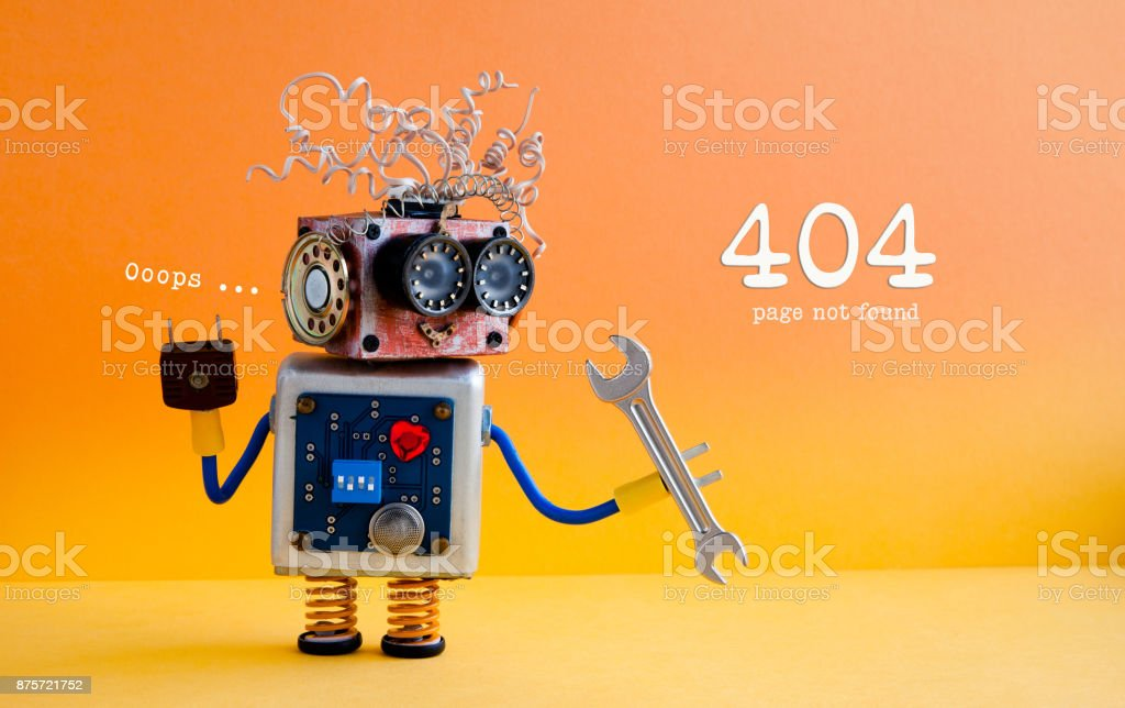Error 404 page not found concept. Friendly crazy robot handyman with hand wrench on yellow orange background stock photo