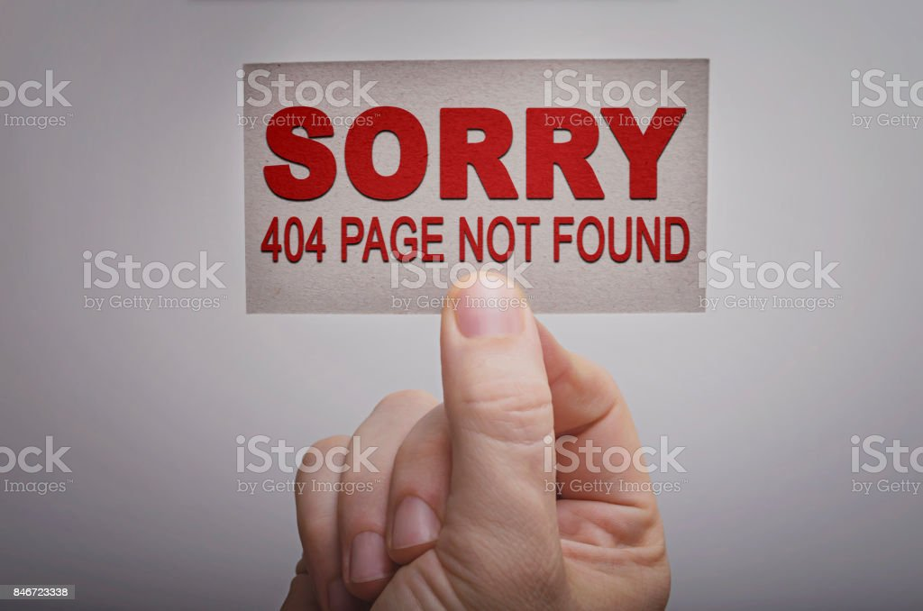 Error 404 page not found concept stock photo