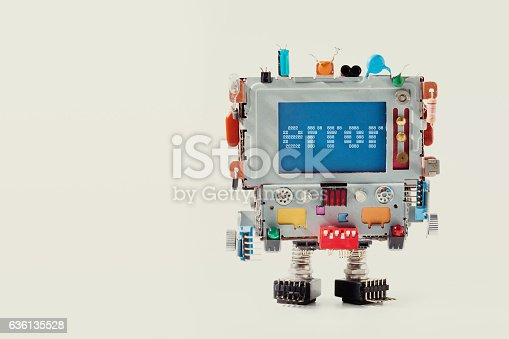 istock Error 404 page template for website. Retro robot with monitor 636135528