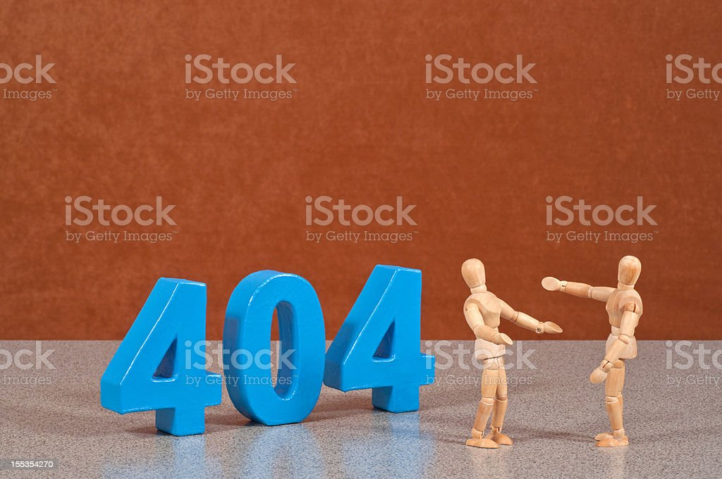 Error 404 - Wooden Mannequin demonstrating this word stock photo