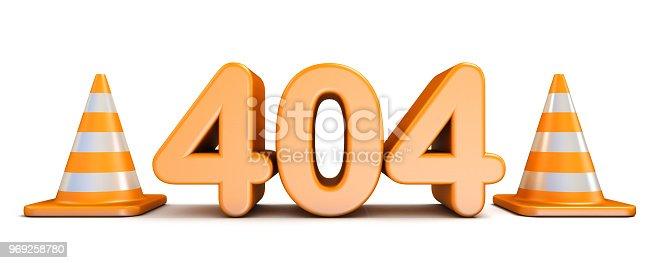istock 404 error and traffic cones 3D 969258780