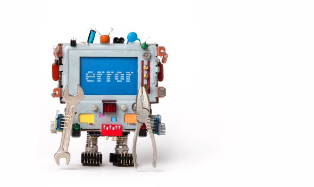 Error concept poster. Handyman robotic computer with hand wrench pliers on white background. Text message Error on blue screen. Copy space Error concept poster. Handyman robotic computer with hand wrench pliers on white background. Text message Error on blue screen. Copy space. mistake stock pictures, royalty-free photos & images